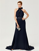 cheap Evening Dresses-Sheath / Column High Neck Court Train Chiffon Cocktail Party / Formal Evening Dress with Beading / Bow(s) / Sash / Ribbon by TS Couture®