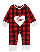 cheap Baby Girls' One-Piece-Baby Children's Plaid/Check One-Pieces, Cotton Winter Spring/Fall Check Long Sleeves Red