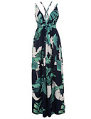 cheap Women's Dresses-Women's Holiday Boho Sheath Dress - Botanical Tropical Leaf, Backless Criss-Cross Print High Rise Maxi Strap