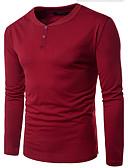 baratos Camisetas & Regatas Masculinas-Homens Camiseta Quadriculada Algodão Decote Redondo / Manga Longa / Longo