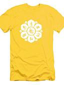 baratos Camisetas & Regatas Masculinas-Homens Camiseta Estampado Jacquard Algodão Decote Redondo