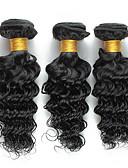 billige Tights til damer-Brasiliansk hår Krøllet / Dyp Bølge / Krøllete Weave Menneskehår Vevet 3 pakker 8-26 tommers Hårvever med menneskehår Hot Salg Svart Hairextensions med menneskehår
