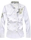 cheap Men's Shirts-Men's Wedding / Daily / Work Chinoiserie Slim Shirt - Floral / Faux Fur / Long Sleeve