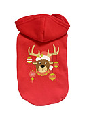 cheap Men's Jackets & Coats-Dog Hoodie Dog Clothes Reindeer Red Cotton Costume For Pets Christmas