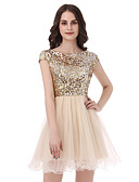 cheap Prom Dresses-Princess Scoop Neck Short / Mini Tulle / Sequined Cocktail Party / Prom Dress with Sequin by LAN TING Express