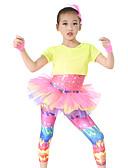 ieftine Ținute De Dans De Copii-Performanță Ținute Performanță Poliester / Spandex / Paiete Încrețit Cascadă Mânecă scurtă Înalt Leotard / Onesie / Vârf / Pantaloni