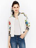 cheap Women's Blazers-Women's Cotton Bomber Jacket-Floral,Print / Spring