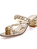 preiswerte Überbekleidung-Damen Schuhe PU Frühling / Sommer Club-Schuhe Sandalen Keilabsatz Offene Spitze Schnalle Gold / Silber
