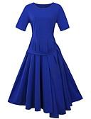 baratos Vestidos de Mulher-Mulheres Tamanhos Grandes Algodão Bainha Vestido Sólido Cintura Alta Assimétrico Azul
