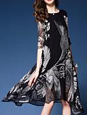 זול שמלות נשים-גיזרה גבוהה מעל הברך דפוס שמלה נדן מתוחכם ליציאה / עבודה בגדי ריקוד נשים