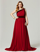 cheap Prom Dresses-A-Line One Shoulder Sweep / Brush Train Chiffon / Velvet Cocktail Party / Formal Evening / Holiday Dress with Sash / Ribbon / Pleats /