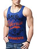 זול טרנינגים וקפוצ'ונים לגברים-אותיות רזה פעיל כותנה, עליונית טנק - בגדי ריקוד גברים דפוס / ללא שרוולים