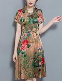 baratos Vestidos de Mulher-Mulheres Tamanhos Grandes Temática Asiática Evasê Bainha Vestido Floral Colarinho Chinês Longo