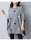 baratos Suéteres de Mulher-Mulheres Manga Curta Longo Pulôver - Sólido