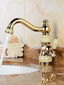 cheap Women's Dresses-Contemporary Swivel Ceramic Valve One Hole Ti-PVD, Bathroom Sink Faucet