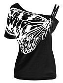 levne Tričko-Dámské - Jednobarevné Větší velikosti Tričko, Volná záda Bavlna Úzký výstřih Nahoře nabírané