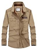 cheap Men's Shirts-Men's Military Cotton Slim Shirt - Solid Colored / Long Sleeve