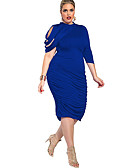 cheap Women's Dresses-Women's Plus Size Going out Bodycon / Sheath Dress - Solid Colored / Sexy Lady Blue, Artistic Style / Classic / Stylish High Rise Asymmetrical Crew Neck / Summer / Slim