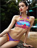 abordables Monos y Rómpers para Mujer-Mujer Boho Floral / Boho Arco Iris Bikini Bañadores - Geométrico M L XL / Espalda Cruzada