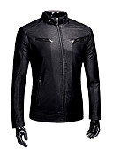 cheap Men's Shirts-Men's Plus Size Leather Jacket - Solid Colored Stand