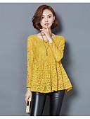 abordables Camisas y Camisetas para Mujer-Mujer Noche Blusa, Escote en Pico Un Color / Encaje