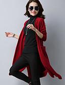 baratos Suéteres de Mulher-Mulheres Manga Longa Longo Carregam - Sólido / Primavera