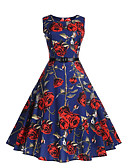 cheap Women's Dresses-Women's Vintage Street chic Sheath Swing Dress - Floral, Pleated