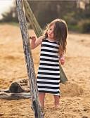 hesapli Elbiseler-Çocuklar Genç Kız Çizgili Çizgili Kolsuz Elbise Siyah / Pamuklu