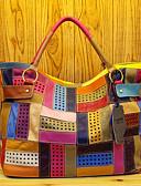 baratos Cachecol Feminino-Mulheres Bolsas Pele Tote Combinação Arco-Íris