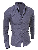 cheap Men's Shirts-Men's Active Plus Size Cotton Shirt - Striped Geometric Standing Collar