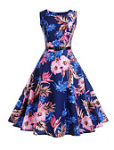 cheap Women's Dresses-Women's Holiday / Work Vintage Cotton Sheath / Swing Dress - Floral High Rise / Summer / Floral Patterns
