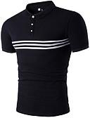 cheap Men's Shirts-Men's Cotton Slim T-shirt - Solid Colored / Floral Shirt Collar / Short Sleeve