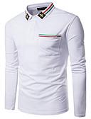 olcso Férfi pólók-Állógallér Férfi Pamut Polo - Egyszínű / Hosszú ujj