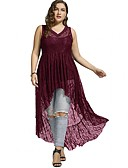 cheap Women's Hats-Women's Lace Plus Size Asymmetrical Dress - Solid Colored Lace V Neck Summer Dark Blue Purple Wine XXXL XXXXL XXXXXL