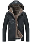 cheap Men's Shirts-Men's Work Active Street chic Boho Plus Size Leather Jacket - Solid Colored, Oversized Hooded
