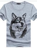 cheap Men's Tees & Tank Tops-Men's Active Cotton / Linen Slim T-shirt - Animal Wolf, Print Round Neck