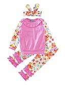 baratos Conjuntos para Meninas-bebê Para Meninas Conjunto Algodão Casual Estampado Floral / Botânico Laço Inverno Primavera/Outono Algodão Manga Longa Floral Rosa