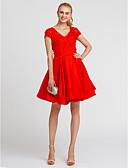 preiswerte Abendkleider-Ballkleid V-Ausschnitt Knie-Länge Spitze / Satin Offener Rücken Cocktailparty Kleid mit Plissee durch TS Couture®