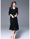hesapli Gece Elbiseleri-Kadın's Kılıf Elbise - Solid V Yaka