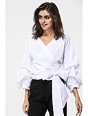 baratos Camisas Femininas-Mulheres Camisa Social Sólido Algodão Ombro a Ombro