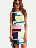 cheap Women's Sweaters-Women's Cotton Loose Dress - Color Block Print / Summer / Slim