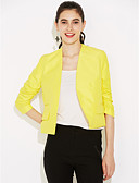 cheap Women's Blazers-Women's Work Cotton Blazer - Solid Colored V Neck