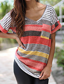 cheap Women's Shirts-Women's Going out Casual Loose T-shirt - Color Block Patchwork V Neck