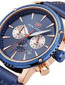 זול עור-MINI FOCUS בגדי ריקוד גברים שעון יד Japanese לוח שנה / שעון עצר / שעונים יום יומיים עור אמיתי להקה יום יומי / מינימליסטי שחור / כחול / חום / מתכת אל חלד