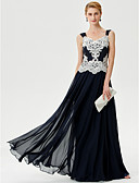 cheap Men's Shirts-A-Line Straps Floor Length Chiffon Corded Lace Mother of the Bride Dress with Appliques Crystal Detailing by LAN TING BRIDE®