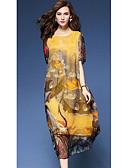 halpa Naisten mekot-Naisten Vintage Katutyyli A-linja Löysä Mekko Painettu Midi Nostokurki