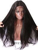 hesapli Bikiniler ve Mayolar 2017-Gerçek Saç Ön Dantel Peruk Düz / yaki % 150 Yoğunluk Doğal saç çizgisi / Afrp Amerikan Peruk / % 100 Elle Bağlanmış Kadın's Şort / Orta / Uzun Gerçek Saç Örme Peruklar / Su Dalgası