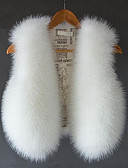 cheap Women's Blazers & Jackets-Women's Daily Fall / Winter Short Vest, Solid Colored V Neck Sleeveless Fox Fur Beige / Purple / Wine L / XL / XXL