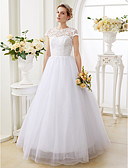 cheap Wedding Dresses-A-Line / Princess Illusion Neck Floor Length Lace Over Tulle Made-To-Measure Wedding Dresses with Beading by LAN TING BRIDE®