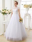 olcso Menyasszonyi ruhák-A-vonalú / Hercegnő Illúziós nyakpánt Földig érő Csipke tüllön Made-to-measure esküvői ruhák val vel Gyöngydíszítés által LAN TING BRIDE®